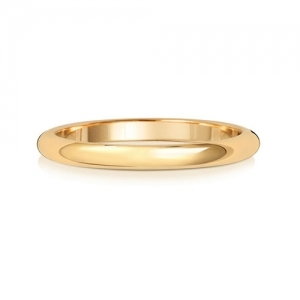 Wedding Ring D-Shape, 18k Gold 2mm