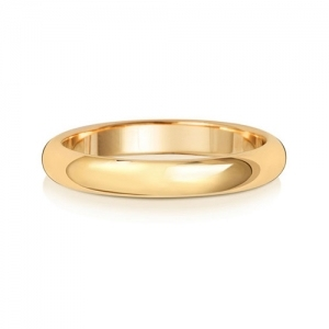 Wedding Ring D-Shape, 18k Gold 3mm