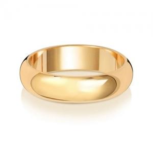 Wedding Ring D-Shape, 18k Gold 5mm