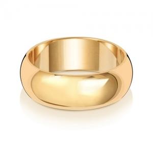 Wedding Ring D-Shape, 9k Gold 7mm