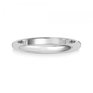 Wedding Ring D-Shape, 18k White Gold 2mm