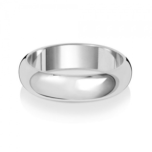 Wedding Ring D-Shape, 18k White Gold 5mm