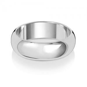 6mm Wedding Ring D-Shape 18k White Gold, Medium