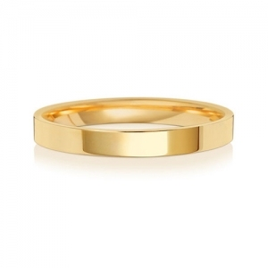Wedding Ring Flat Court, 18k Gold 2.5mm