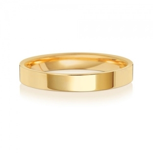 Wedding Ring Flat Court, 18k Gold 3mm