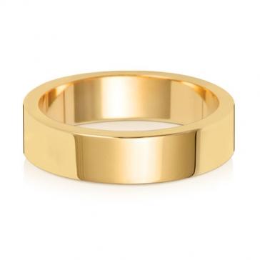 5mm Wedding Ring Flat Profile 18k Gold, Medium
