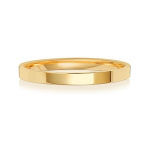 Wedding Ring Flat Court, 9k Gold 2mm