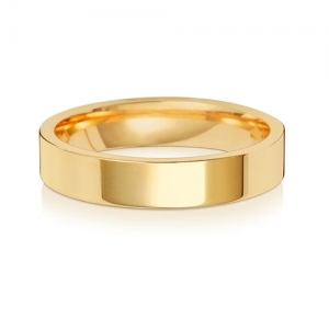 Wedding Ring Flat Court, 9k Gold 4mm