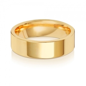 Wedding Ring Flat Court, 9k Gold 6mm