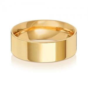 7mm Wedding Ring Flat Court 9k Gold, Medium