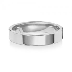Wedding Ring Flat Court, 18k White Gold 4mm