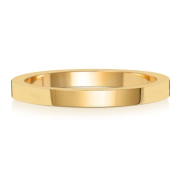 2mm Wedding Ring Flat Profile 18k Gold, Medium