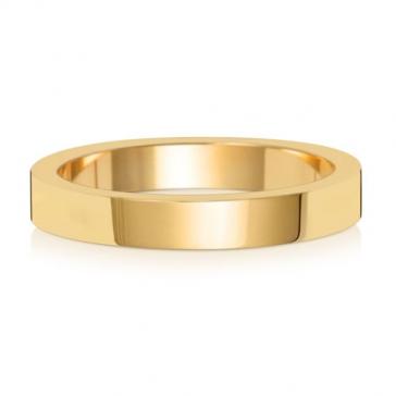 3mm Wedding Ring Flat Profile 18k Gold, Medium
