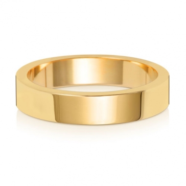 4mm Wedding Ring Flat Profile 18k Gold, Medium