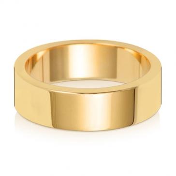 6mm Wedding Ring Flat Profile 18k Gold, Medium