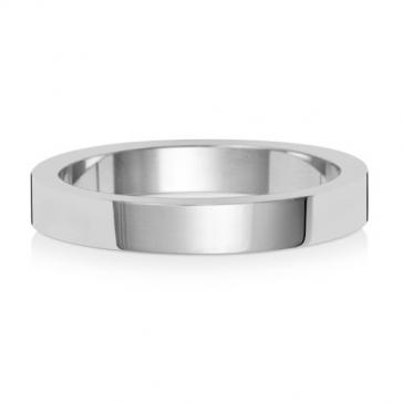 3mm Wedding Ring Flat Profile 18k White Gold, Medium