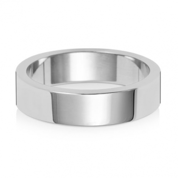 5mm Wedding Ring Flat Profile 18k White Gold, Medium