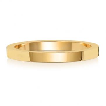 2mm Wedding Ring Flat Profile 9k Gold, Medium