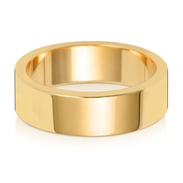 6mm Wedding Ring Flat Profile 9k Gold, Medium