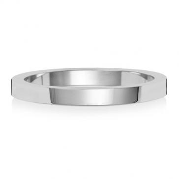 Wedding Ring Flat Profile, 9k White Gold 2mm