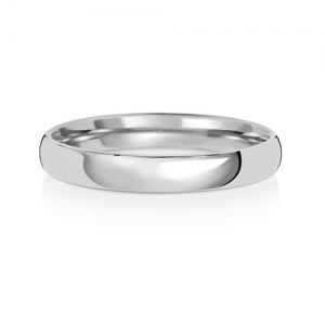 3mm Platinum Wedding Ring Traditional Court Shape, Medium