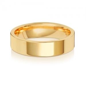 Wedding Ring Flat Court, 18k Gold 5mm