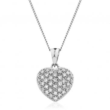 Diamond Pavé Heart Pendant 0.20ct, 18k White Gold