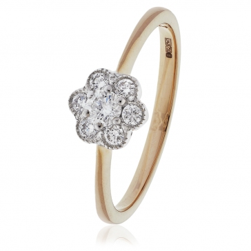 Diamond Flower Cluster Ring 0.30ct, 18k Rose Gold
