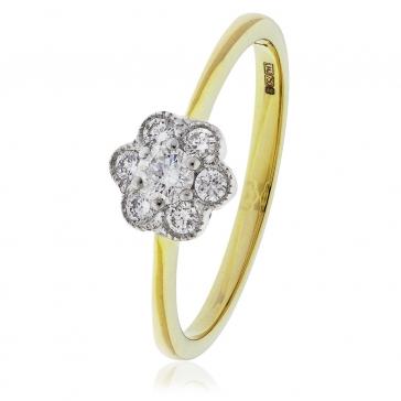 Diamond Flower Cluster Ring 0.30ct, 18k Gold