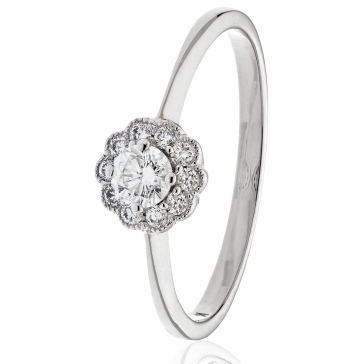 Diamond Engagement Ring With Milgrain 0.30ct, 18k White Gold