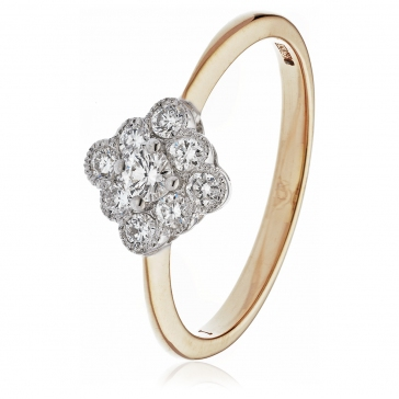 Diamond Nine Stone Cluster Ring 0.40ct, 18k Gold