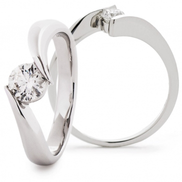 Diamond Solitaire Cross Over Engagement Ring 0.50ct, 18k White Gold