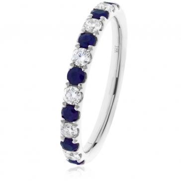 Sapphire & Diamond Half Eternity Ring 0.60ct, 18k White Gold