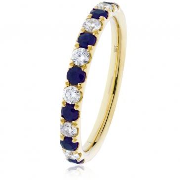 Sapphire & Diamond Half Eternity Ring 0.60ct, 18k Gold