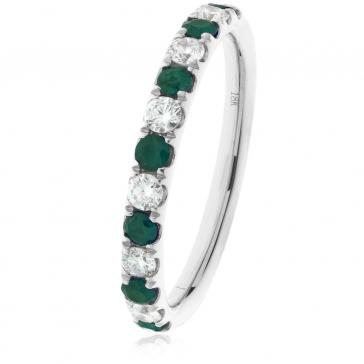 Emerald & Diamond Half Eternity Ring 0.60ct, 18k White Gold
