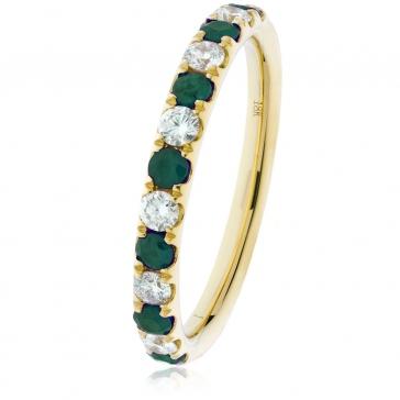 Emerald & Diamond Half Eternity Ring 0.60ct, 18k Gold