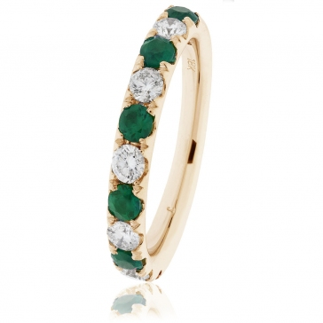 Emerald & Diamond Half Eternity Ring 0.80ct, 18k Gold