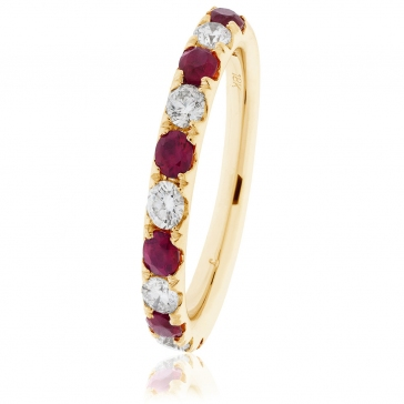 Ruby & Diamond Half Eternity Ring 0.80ct, 18k Gold