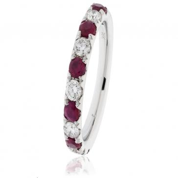 Ruby & Diamond Half Eternity Ring 0.80ct, 18k White Gold