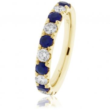 Sapphire & Diamond Half Eternity Ring 1.25ct, 18k Gold