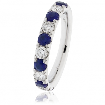 Sapphire & Diamond Half Eternity Ring 1.25ct, 18k White Gold