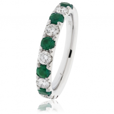Emerald & Diamond Half Eternity Ring 1.10ct, 18k White Gold