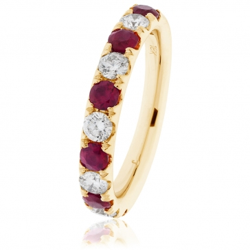 Ruby & Diamond Half Eternity Ring 1.25ct, 18k Gold