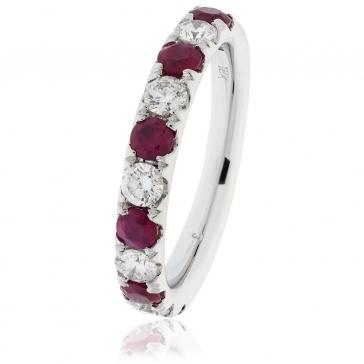 Ruby & Diamond Half Eternity Ring 1.25ct, 18k White Gold