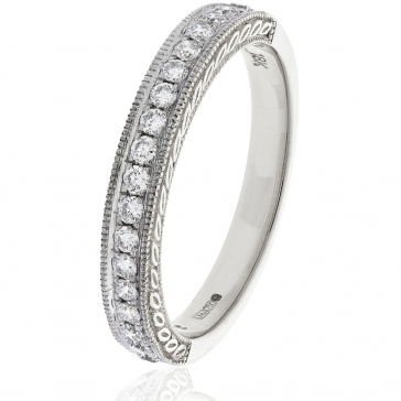 Diamond Half Eternity Ring with Millgrain 0.50ct, Platinum