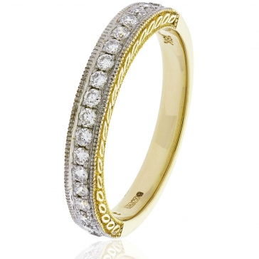 Diamond Half Eternity Ring with Millgrain 0.50ct, 18k Gold