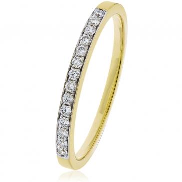 Diamond Half Eternity Ring 0.15ct, 9k Gold