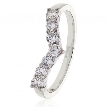 Diamond Wishbone Ring 0.50ct, 950 Platinum