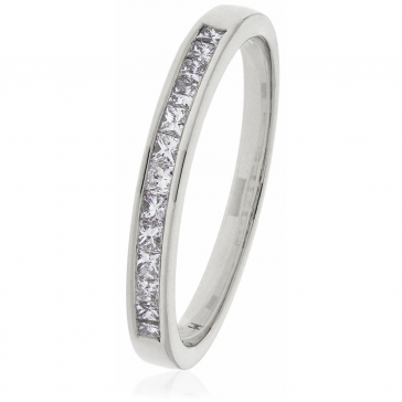 Diamond Princess Half Eternity Ring 0.50ct, 18k White Gold