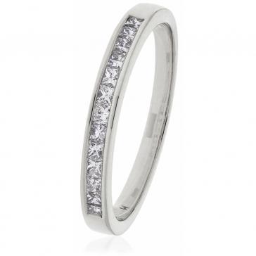 Diamond Princess Half Eternity Ring 0.50ct, Platinum